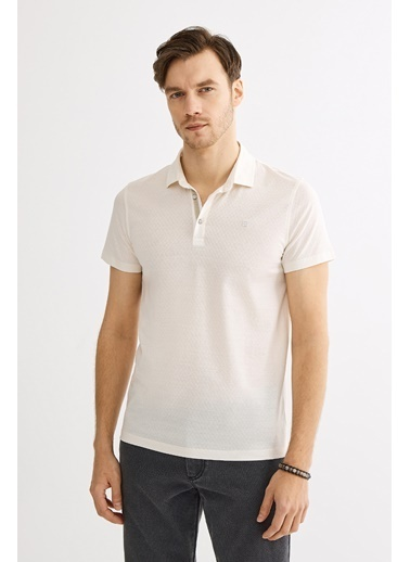 Avva Erkek  Polo Yaka Jakarlı  Tişört A01Y1043 Ekru